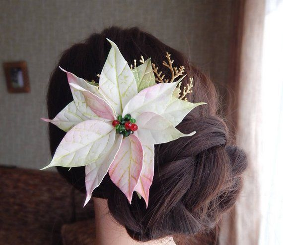 Christmas Flower Headpiece With White Poinsettia Floral Hair Clip Bridal Hair Comb Winter Wedding Ha Flower Headpiece Floral Hair Combs Floral Hair Clip