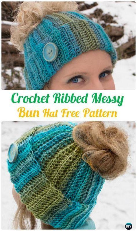 Häkeln Sie gerippte messy Brötchen Hut kostenlose Muster – häkeln ...