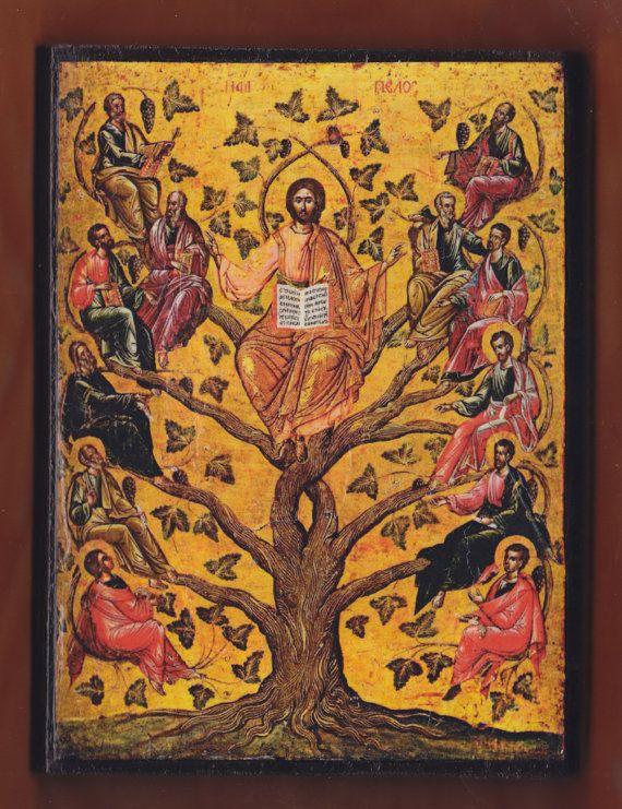 Eastern Orthodox icon of Jesus Christ as the True Vine16th