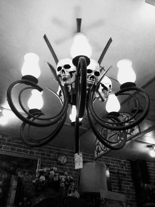 skull chandelier from horrific finds