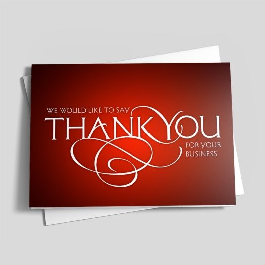Red Thank You Scroll Business Appreciation by CardsDirect