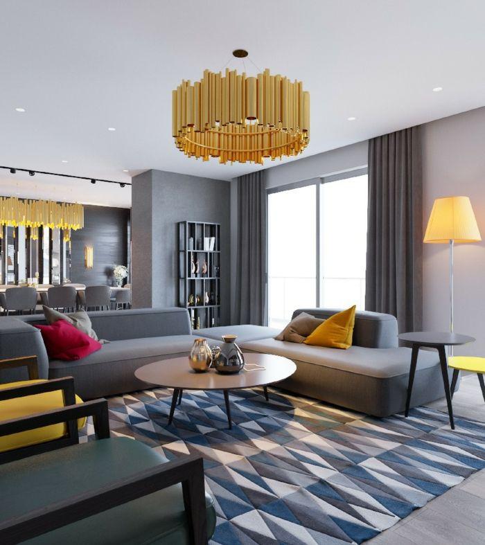 wohnzimmereinrichtung geometrischer teppich gelbe akzente - Gelbe Sthle Passen Zu Welcher Kche