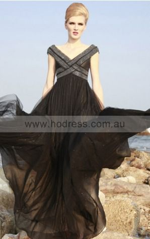 Cap Sleeves None V-neck Floor-length Tulle Evening Dresses dt00230--Hodress