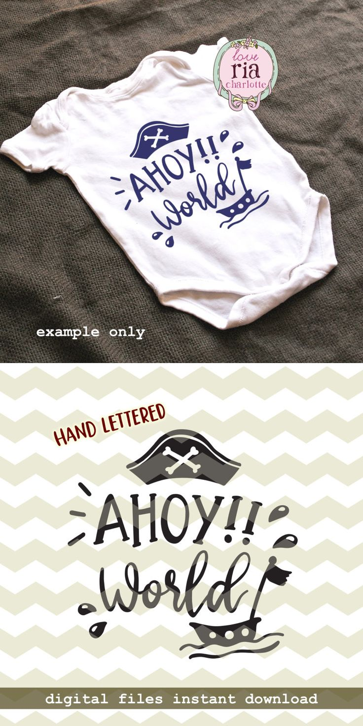 Ahoy world, pirate hat ship cute fun new baby boy boys digital cut files, SVG, DXF, studio3 for cricut, silhouette cameo, diy vinyl decals by LoveRiaCharlotte on Etsy