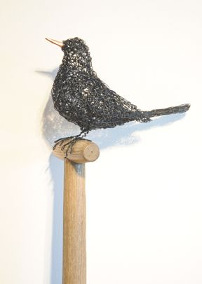 "Hayley Jones Wirework Sculpture - ""Gardners Rest"" - Wirework Blackbird on Vintage Ladies Gardening Fork - new to Tinca this week #sculpture #wirework #garden #gallery"