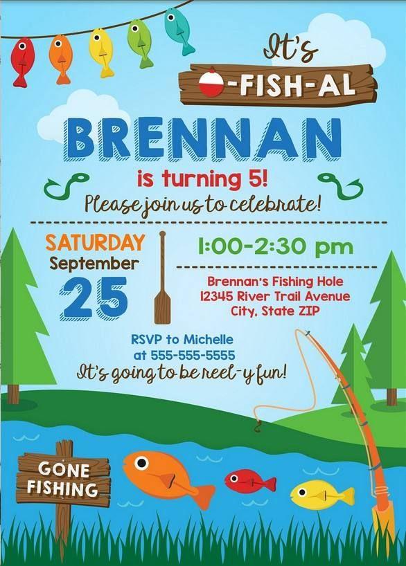 Free Printable Fishing Birthday Party Invitation Template
