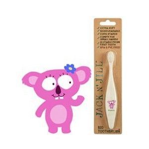 Jack n Jill children's toothbrushes are made of cornstarch, and are therefore biodegradable and recyclable. With a super cute koala friend design your child will learn to love brushing their teeth.