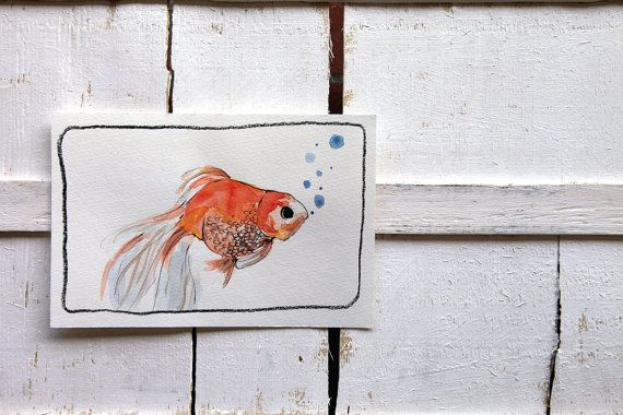 fish watercolor original illustration by ariannapiazzafineart, $39.00