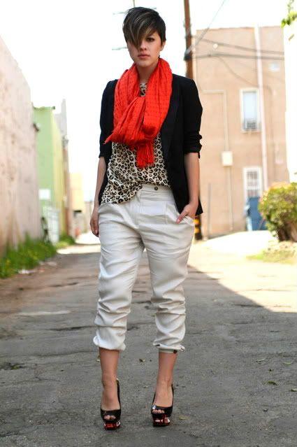 red scarf, kaki pants