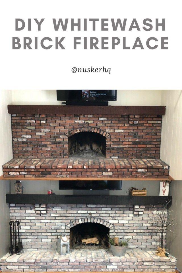 Whitewash Brick Fireplace Diy Diy Whitewash Gray Paint Fireplaces White Wash Brick