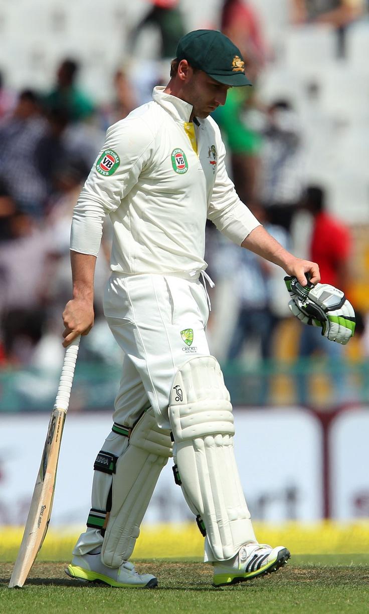 Philip Hughes walks back after being dismissed, India v Australia, 3rd Test, Mohali, 2nd day, March 15, 2013