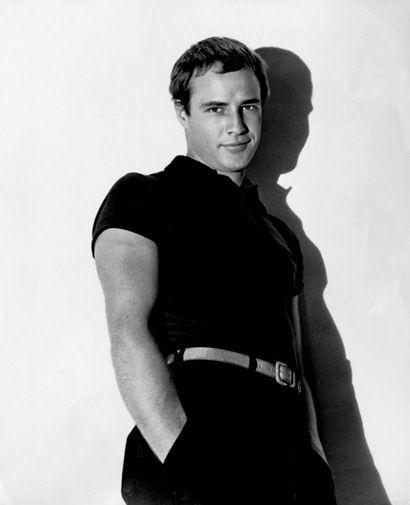 Marlon Brando is sleek and modern looking with his Mark Anthony haircut, circa 1953.