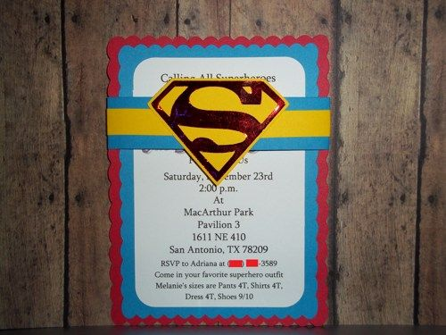 Superman Invitations, Superhero Invitations