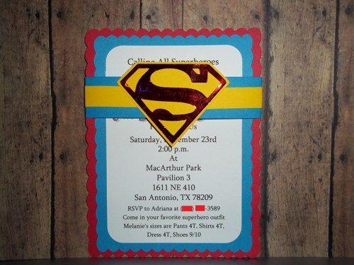 Superman Invitations, Superhero Invitations   Timberlysdesigns - Seasonal on ArtFire