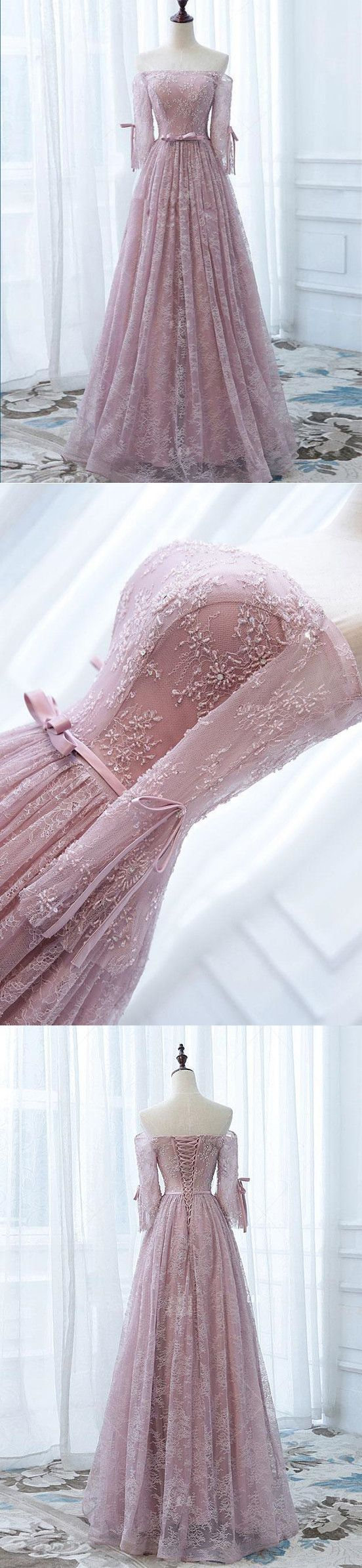 A-line, Off the Shoulder, Pink Tulle & Lace Evening Dress