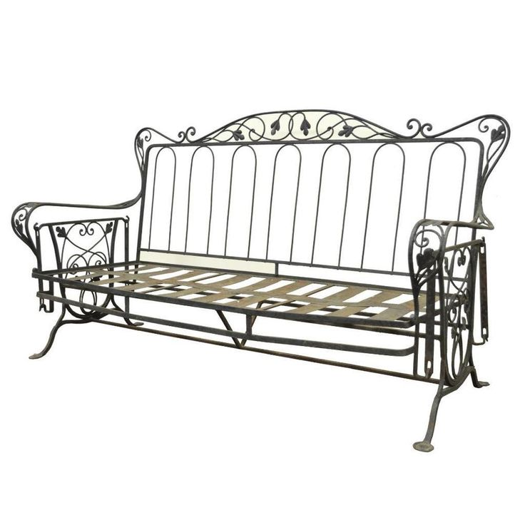 Vintage Wrought Iron Outdoor Patio Glider Swing Sofa Loveseat Woodard Salteri