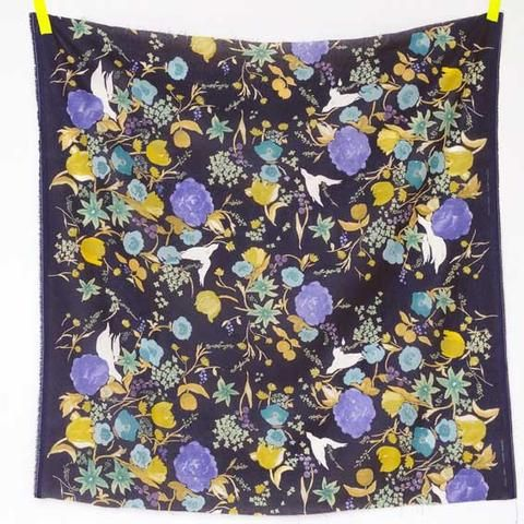 "Nani Iro Fuccra Rakuen ""Atami"" deep blue, linen cotton single - Red Beauty Textiles"
