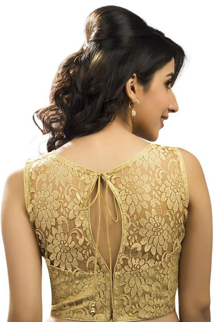 #Gold lace #blouse self embossed #designer wear with trendy #jewel neck -BL725