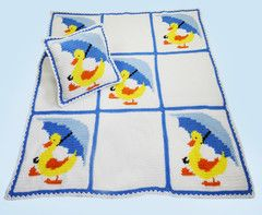 Little Ducky Duddle Afghan and Pillow Crochet Pattern