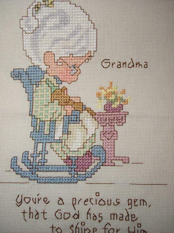 Precious Moments Grandma in rocker Cross Stitch by SandysCorner