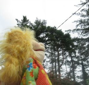 """Maybe the rain will go to Spain"" says Maggie hopefully  www.littlegempuppets.com"