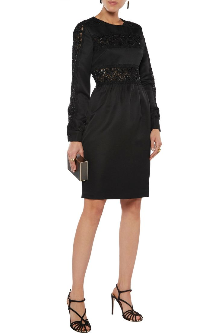 Sequined guipure lace-paneled twill dress | MIKAEL AGHAL | Sale up to 70% off | THE OUTNET