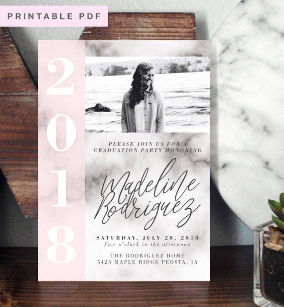 Modern Graduation Party Invitation Invite Grad Announcement Blush Marble P