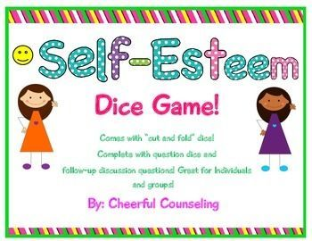 "This is a solution-based self-esteem activity that focuses on positives and ways for students to open up and discuss things to boost their self-esteem such as looking at exceptions to behavior! Great for individuals and small groups!   This Game includes:   - Instructions   - ""Cut and Fold"" printable question dice!  - Possible discussion questions for each question  NOTE: A revised file has been uploaded for this game. The cut and fold dice has been resized :)   Enjoy!"