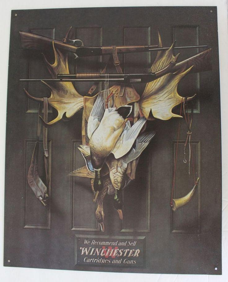 """WINCHESTER Tin SIGN Cartridges Guns 16 x 13"""" Mallard Ducks Moose Horns Man Cave #Winchester"""