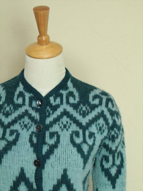 【M】70's VINTAGE MILWAUKEE KNIT ウール カーディガン レディース ブルー  http://littletree-usa.com/products/detail.php?product_id=2260