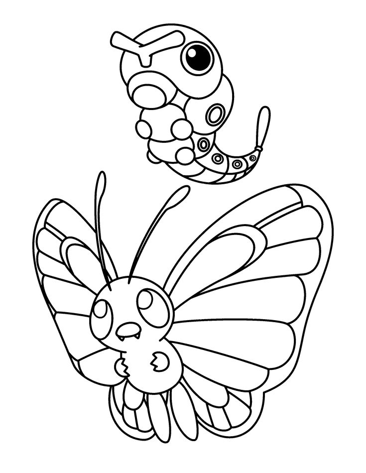 32 best color pokemon evolutions chains evolved forms images on ... - Advanced Coloring Pages Butterfly