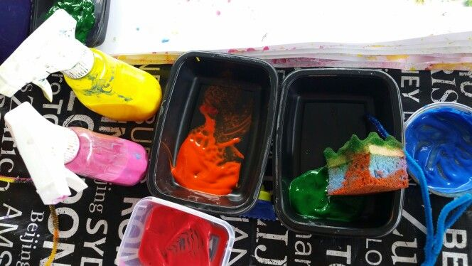 Some messy fun #paintingwithkids