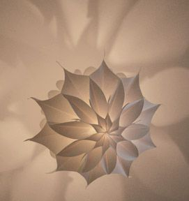 The body is made of translucent paper which is glued together in a precise pattern. This pattern determines its spherical shape and the direction in which the light will diffuse.