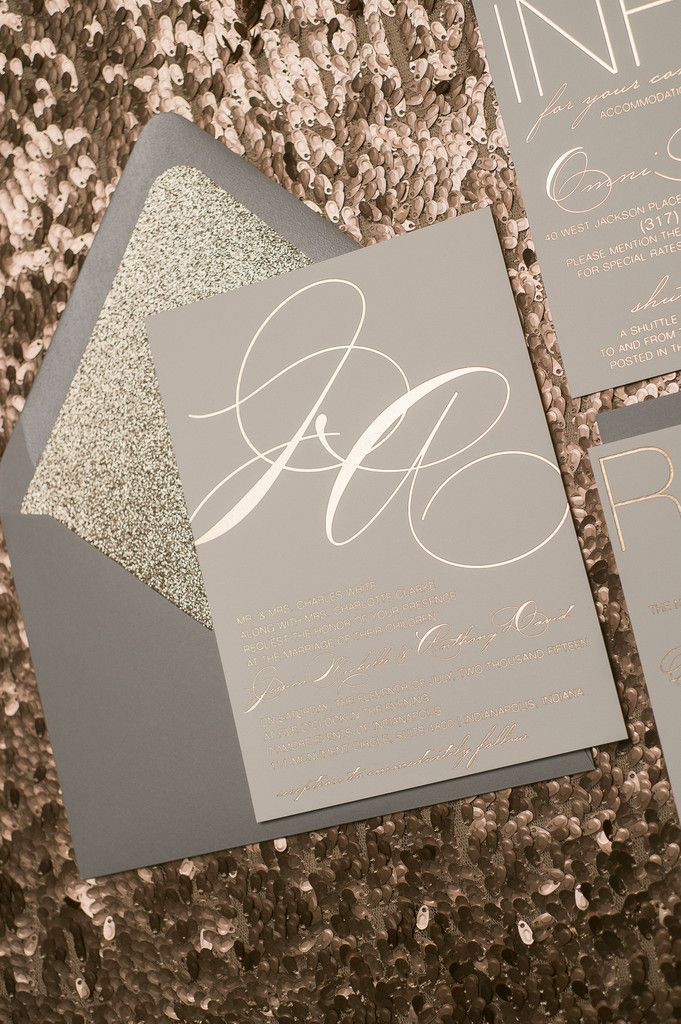 JESSICA Suite Glitter Package, grey and rose gold, rose gold foil, foil wedding invitations, rustic glitter wedding