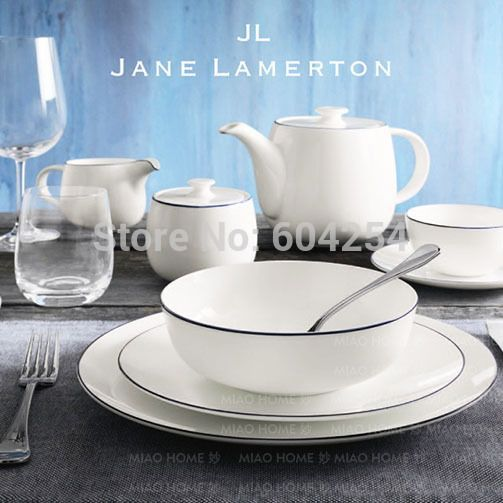 Free shiping 5-piece blue rim pure white fine bone china dinner set for wedding gift
