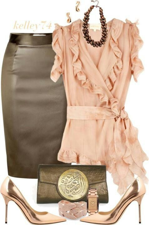 Light Spring Color Palette. Zac Posen blouses, Moschino Cheap & Chic skirts and Jimmy Choo pumps.