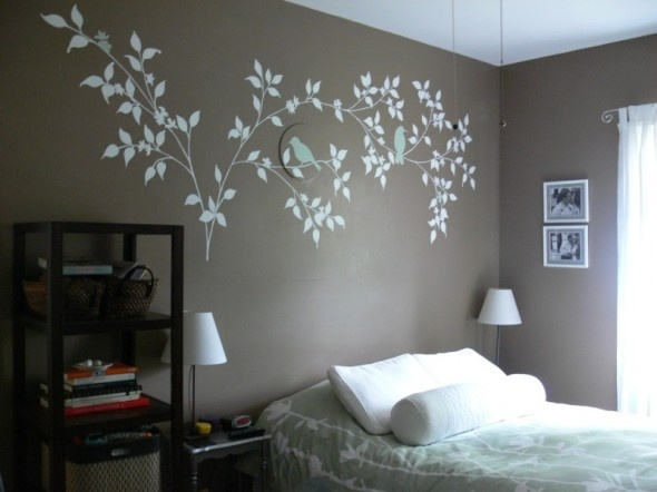 teen room. muted colour walls, branch decal