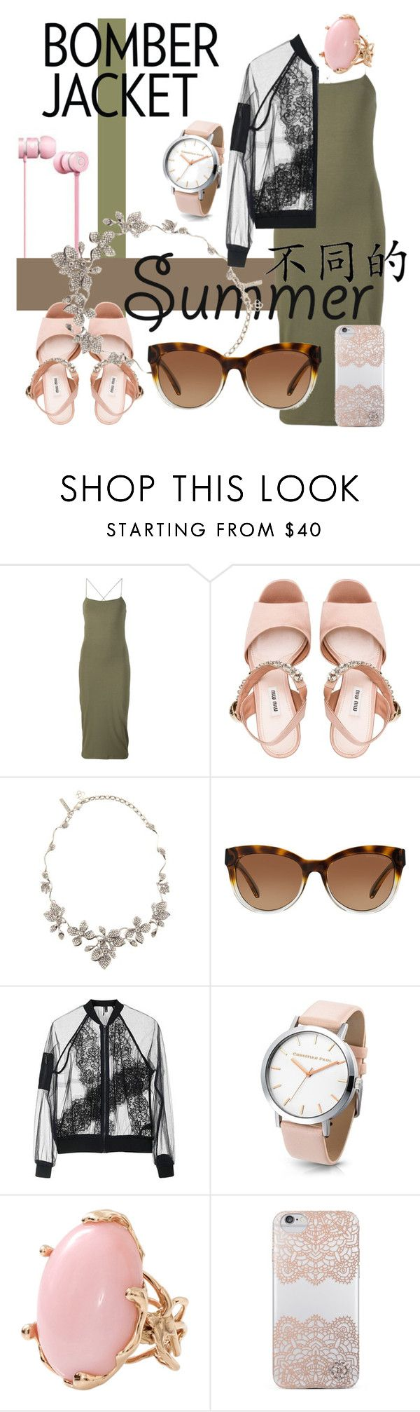 """Light Topping: Summer Bomber Jackets"" by crystal-imz ❤ liked on Polyvore featuring T By Alexander Wang, Miu Miu, Oscar de la Renta, Michael Kors, Topshop, Lucifer Vir Honestus, Nanette Lepore and bomberjackets"