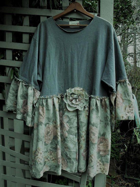 1X Tunic/ Cotton Tee Rose Print Dress/ Upstyled Tee Shirt