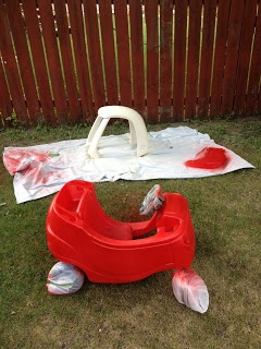 Updating cheapy yard sale cozy coupe