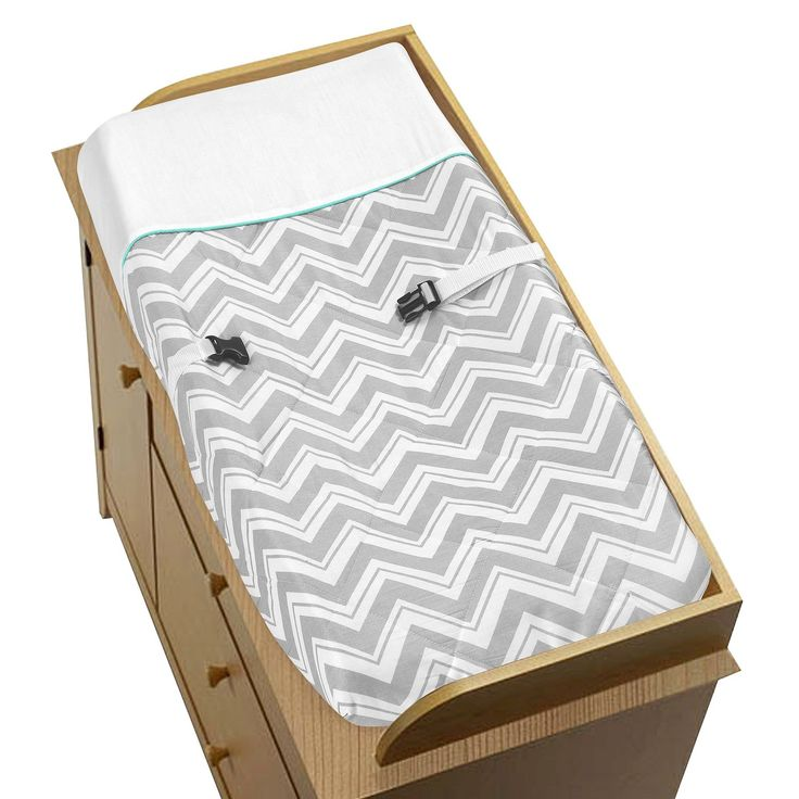Gray and Turquoise Blue Zig Zag Changing Pad Covers will help complete the look of your Sweet Jojo Designs nursery. This changing pad cover can be used with standard or contoured changing pads.