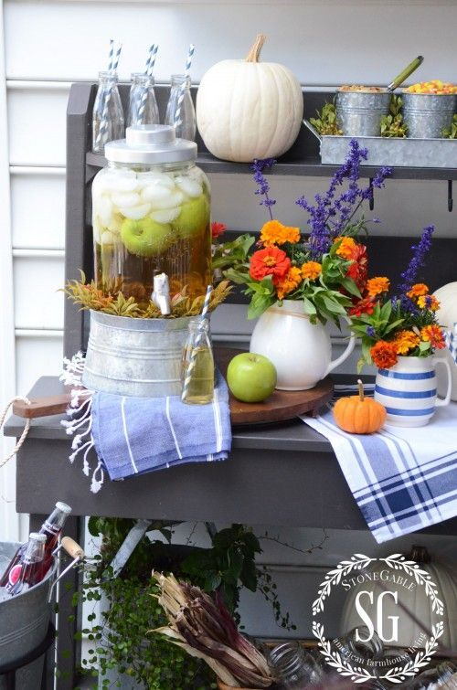 Love this fall drink station from Stone Gable, featuring some of our festive galvanized decor items
