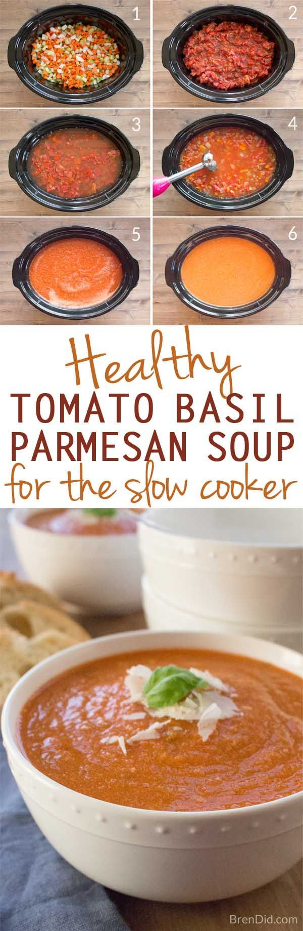 Healthy slow cooker tomato basil parmesan soup is creamy, comforting, and cheesy PLUS it's packed with vegetables that give it incredible flavor without all the fat and calories.