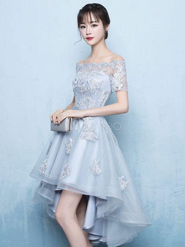 4c53b43bda43 High Low Homecoming Dress Lace Prom Dress 2018 Off The Shoulder Light Grey Applique  Short Sleeve A Line Asymmetrical Graduation Dress #Prom, #Shoulder, ...