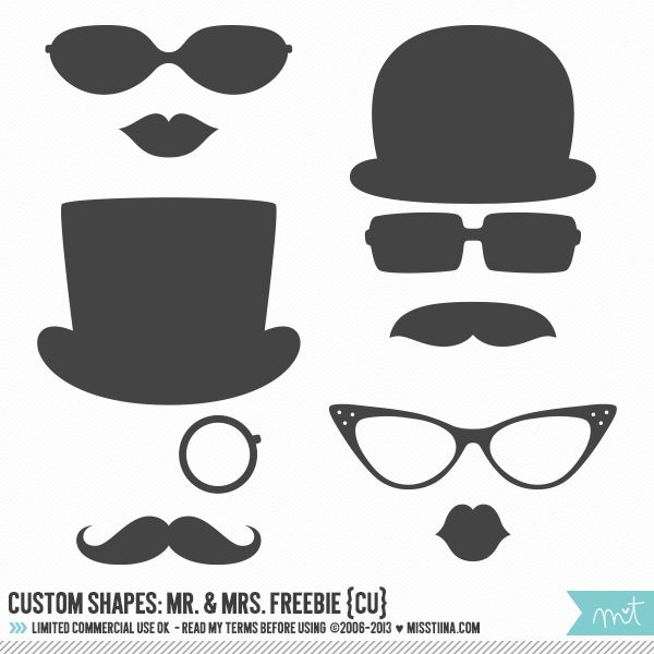 Photoshop Custom Shapes - Mr. & Mrs. CU FREEBIE! | MissTiina.com {Blog}