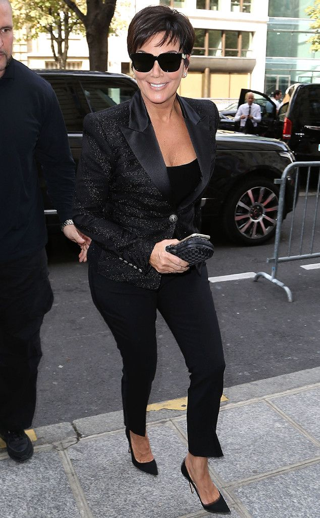 Kris Jenner from Stars at Paris Fashion Week Spring 2015 The Kardashian matriarch steps out in head-to-toe black en route to the Balmain show.