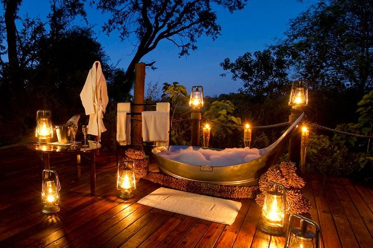 Drink champagne in a hot tub under the stars.