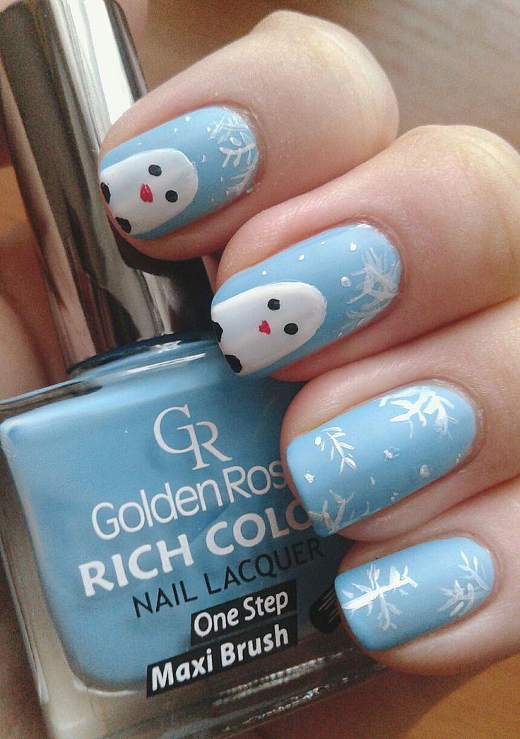 Nail. Art. Nail art. Blue. Snowflakes. Penguin.