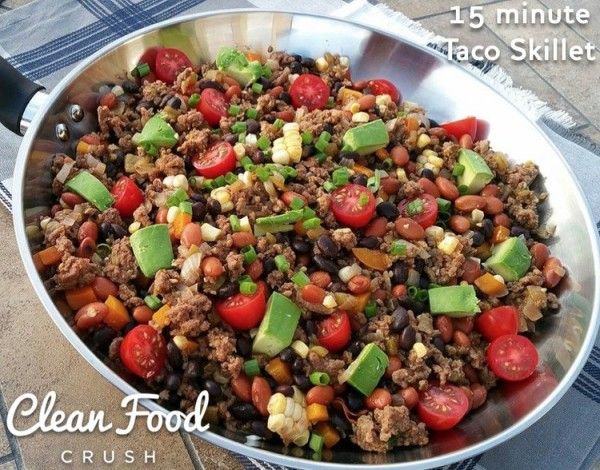 {Another QUICK weeknight idea!} Serves 4-6 What I did: Brown 1 lb grass fed beef (or ground Turkey) on medium high heat with 1 small diced onion. Drain well. Add: 1/4 cup water, 1, 7 oz can fire roasted, diced green chillies. 2 cloves garlic minced, A good sprinkle of cumin, sea salt & freshly...