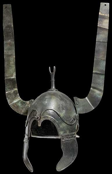 Celtiberian helmet unearthed at an archaeological site in the region of Zaragoza, Spain. (They were Celtic-speaking people of the Iberian Peninsula in the final centuries BCE. Extant tribal names include the Arevaci, Belli, Titti, Lusones, and Berones. Archaeologically, the Celtiberians participated in the Hallstatt culture in what is now north-central Spain. There was intermarriage between Celts and Iberians after a period of continuous warfare.)